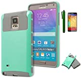 Galaxy Note 4 Case, Bastex Two Tone Dual Layer Armor Protective Defender Case Cover for Samsung Galaxy Note 4 - [Grey/Mint] (Includes Screen Protector + Stylus)