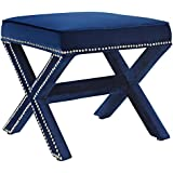 Modway Rivet X-Base Entryway Modern Bench With Navy Velvet Upholstery and Nailhead Trim