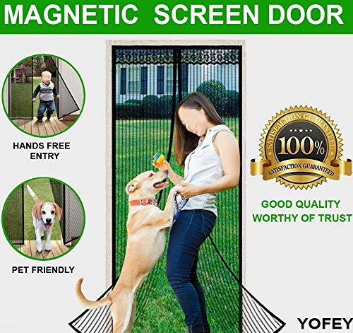 Magnetic Screen Door Black with Heavy Duty Mesh Curtain and Full Frame Velcro Fits Door Size up to 34x82 inch. Measure Your Door Size Carefully.