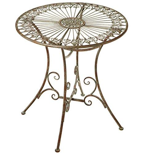 ted Golden Brown Verdigris Fleur de Lis Medallion Distressed Finish Table ()