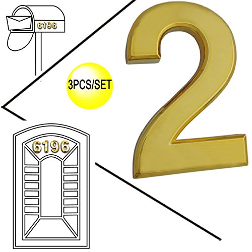 Magicdo 3/pack 2'' Golden Modern House Numbers, Modern Mailbox Number Sticker, 3D Metal Shining Reflective Number, Self-Stick Number, Floating Appearance Number, House Number Signs (2) (Self Stick Numbers compare prices)