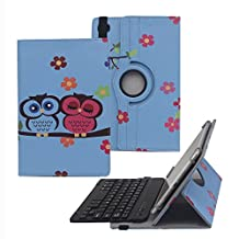 Tsmine Samsung Galaxy Tab4 Advanced 7.0 (SM-T230NW) Bluetooth Keyboard Rotating Cartoon Case - Universal Detachable Wireless keyboard w/ 360 Degree Stand Cover [NOT include Tablet], Owl Baby/Black