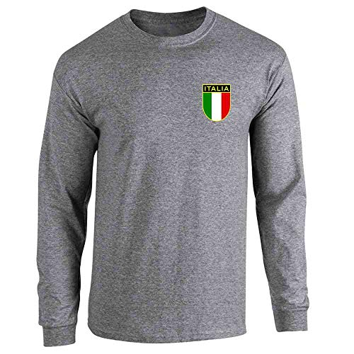 (Italy Soccer Retro National Team Graphite Heather L Long Sleeve T-Shirt)