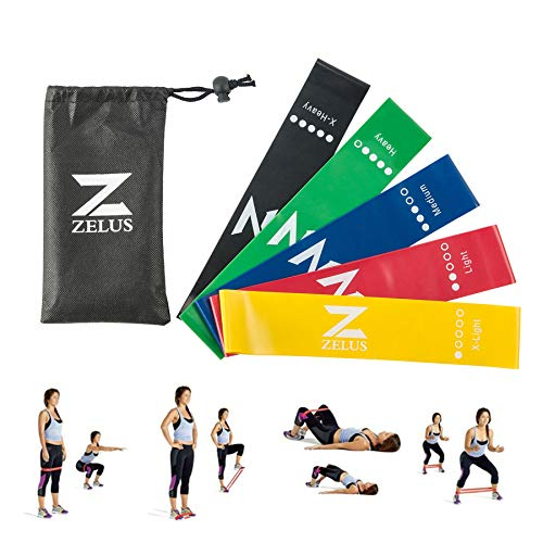 ZELUS Exercise Resistance Loop Bands  Set of 5 – Exercise Workout Bands for Daily Workout Pilates Yoga Rehab amp Physical Therapy with Carry Bag