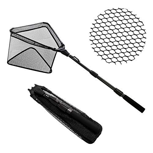 (SANLIKE Collapsible Fishing Landing Net - Super Portable Foldable Fish Catching Net with Durable Rubber Coating Nylon Mesh Telescopic Pole Handle, Safe Fish Catching and Releasing with Skid-Resistant)
