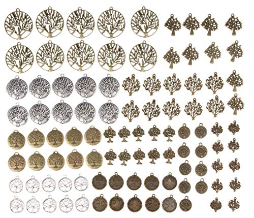Tree Charms - 100-Piece Mixed Family Tree, Tree of Life Charms, Antique Pendants, Alloy Charms, Perfect for Accessories Keychains Bracelets Necklaces DIY, Jewelry Making, Craft, Assorted Design