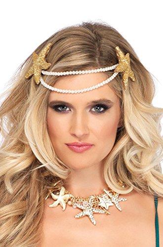 Leg Avenue Women's Mermaid Pearl Starfish Headband, White, (Mermaid Costumes Accessories)