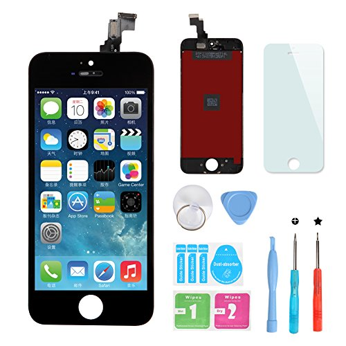 HXSZ LCD Display Touch Screen Digitizer Assembly for Iphone 5C Black +Tools and Professional Glass Screen Protector for iPhone 5C 4.0 inch