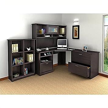Amazoncom Bush Furniture Cabot Piece Corner Computer Desk - Bush cabot corner computer desk