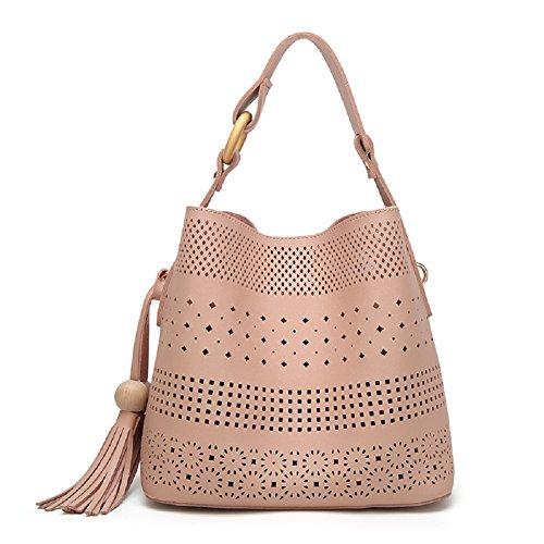 Oudan Bolso de cuero falso de la PU del bolso de cuero de las mujeres con el totalizador y la cartera de las franjas (Color : Marrón, tamaño : Un tamaño) Rosado