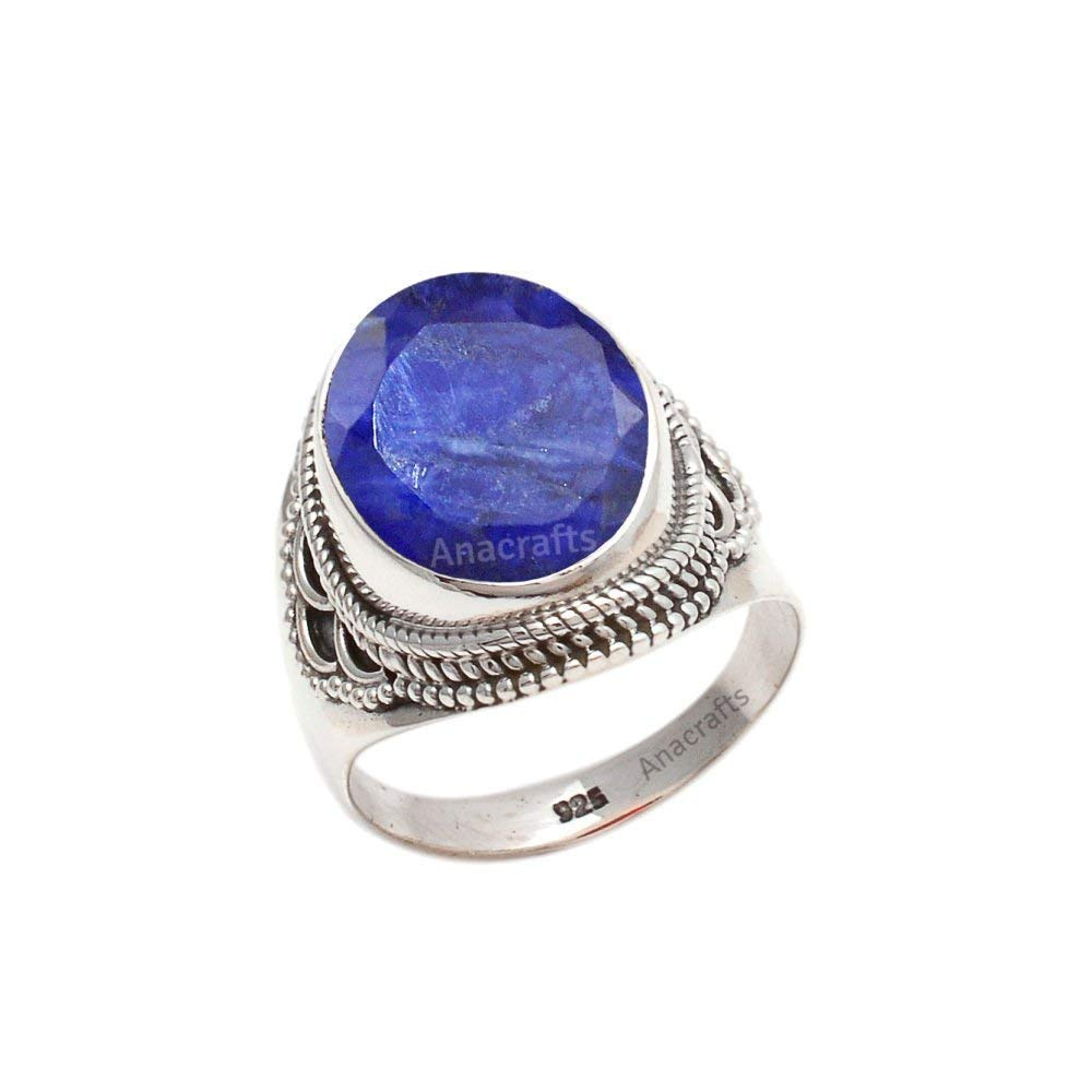 925 Sterling Silver Ring Blue Sapphire Natural Gemstone Size 4-11
