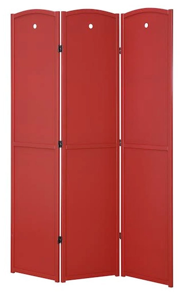 Legacy Decor 3-Panel, Red Color Childrens Room Divider, Solid Wood Screen Room Divider