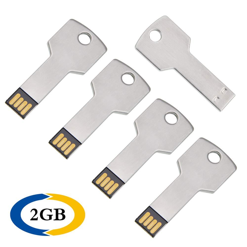5 Unidades 2 GB Memoria USB 2.0 Metal Pendrive Llave Plata Memorias Flash Drive Creativo U Disco Divertida USB Stick Almacenamiento Externo Regalo by ...