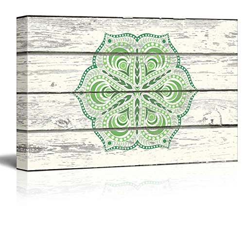 Shades of Green Decorative Art on a Wooden Background
