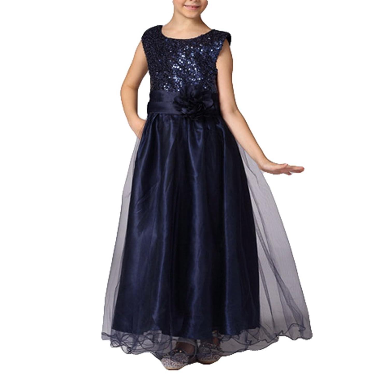 Elegante princesa hibote fiesta formal vestidos de boda sin mangas de color azul marino 130cm: Amazon.es: Ropa y accesorios