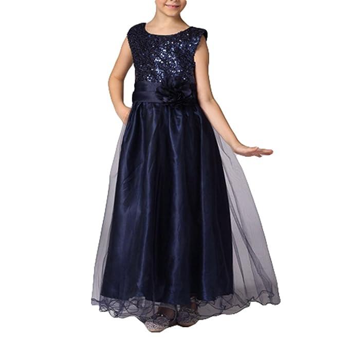 Elegante princesa Yying fiesta formal vestidos de boda sin mangas de color azul marino 110cm