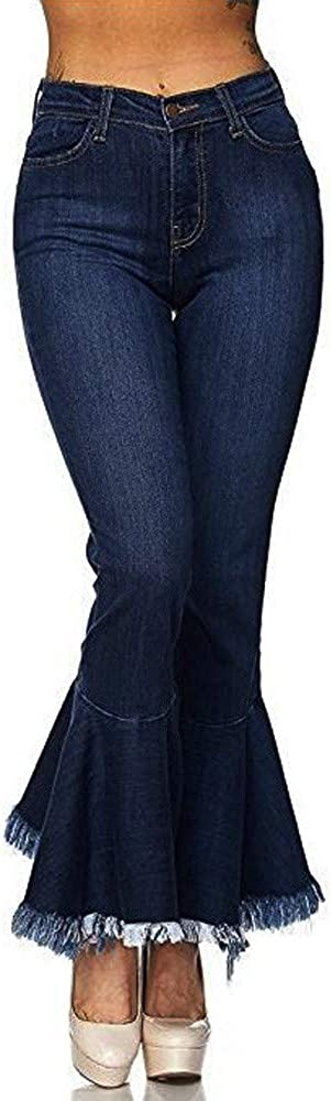 Hliyy Jean Femme /à Pattes Slim Pantalon Bas Evas/é Pants Boutonn/é Taille Haute Vintage La Mode /éVas/é Stretch Zipp/é Coupe Fit en Denim Elastique avec Poche Bootcut Casual D/éContract/é Mollet