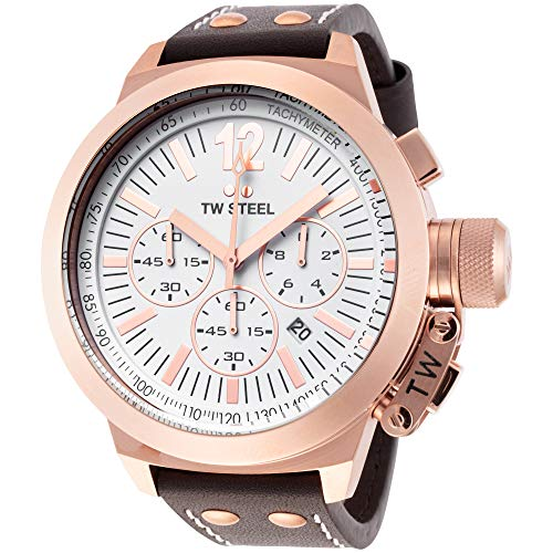 TW Steel Men s CE1020 CEO Canteen Brown Leather White Chronograph Dial Watch