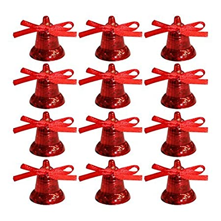 Pack of 12 RED Christmas Bell Tree Trims / Christmas Decorations ...