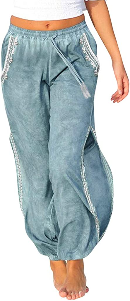 JOFOW Womens Pants Solid Side Slit Loose Comfy Bowknot Pants