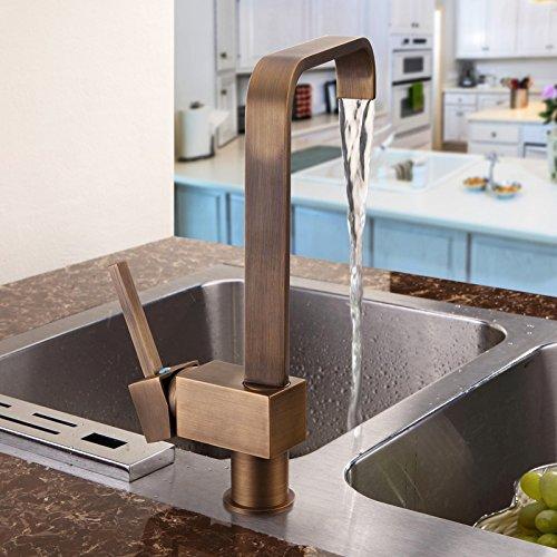 con beccuccio girevole rubinetto della cucina Kunmai antico in ottone monocomando piazza rubinetto per lavello da cucina