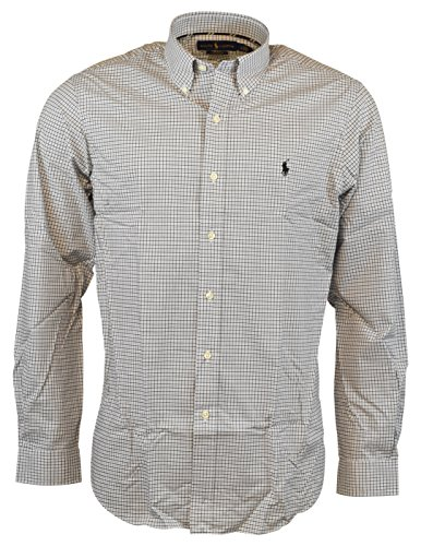 Polo Ralph Lauren Men's Classic Fit Cotton Stretch Button-Front Shirt - White/Black - L