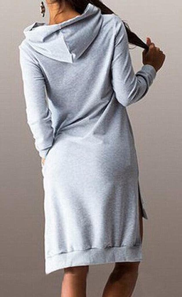 Fensajomon Womens Loose Pure Color Long Sleeve Pullover Hoodies Hooded Sweatshirt