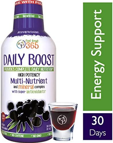 Daily Boost Liquid Superfood Multivitamin by Feel Great 365, with Vitamins B12, D3, E, Glutathione, Resveratrol, Milk Thistle, Green Tea, Ginseng & More. #1 Kosher, Paleo and Vegetarian Friendly