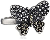 Sterling Silver Oxidized Marcasite Butterfly Ring, Size 7 from PAJ, Inc