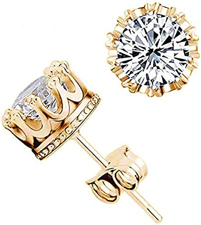 Authentic 18K Yellow Gold Filled crystal Crystal Mens Womens Stud Earring