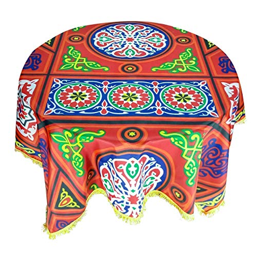 CraftiEgypt Egyptian Decorative Colorful Arabic Khayyāmiyah Khayamiya Tablecloth Dining Room Kitchen Square Round Table Cloth Cover 55 Inches Red