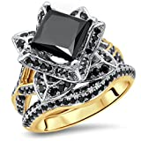Smjewels 2.9Ct Black Princess Cut CZ Diamond Lotus Flower Engagement Ring Set Yellow Gold Fn