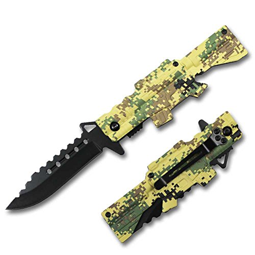 Rtek M4 Rifle Style Shaped Digital Camo Camouflage Tactical Spring Assisted Assist Knife Knives