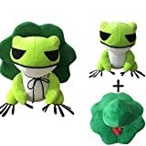 Pettstore Kawaii Plush Doll Toys Traveling Frog Two Dimensions Cure Throw Pillow with Removable Hat, Soft Pendant Stuff Toys for Adults, Kids (Green, 25cm)