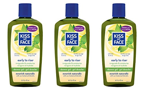 Lemongrass Scented Body Wash (Kiss My Face Early-to-Rise Moisturizing Shower Gel, Bath and Body Wash, 16 oz (Pack of 3))