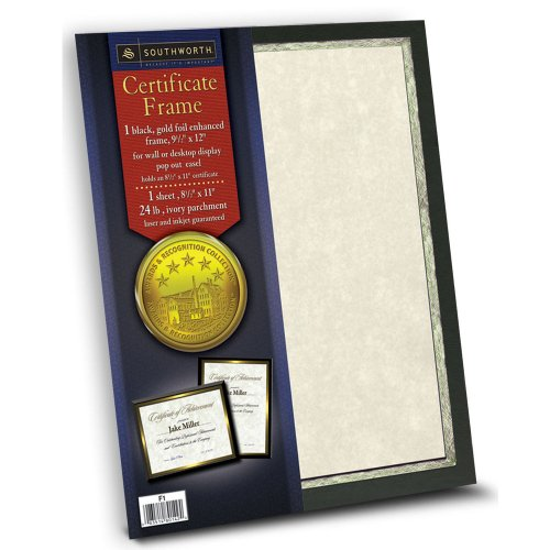 - Southworth Black Certificate Frame with Easel, Gold Foil Enhanced, 9.5 x 12 Inches (F1)