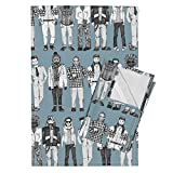 Roostery Scrummy Tea Towels Dudes Steel Blue by Scrummy Set of 2 Linen Cotton Tea Towels