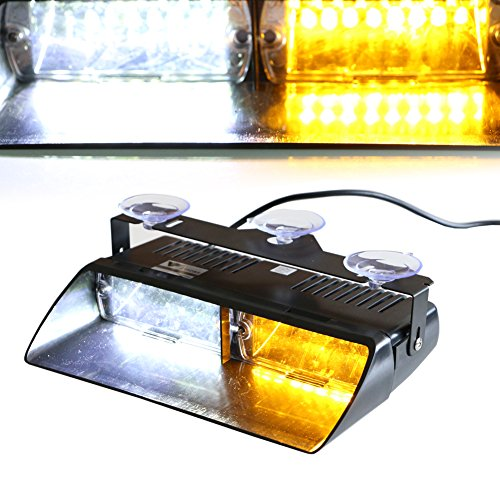 T Tocas 16 LED High Intensity LED Law Enforcement Emergency Hazard Warning Strobe Lights for Vehicle Interior Roof / Dash / Windshield with Suction Cups