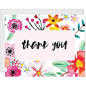 Whimsical Bright Blank Floral Thank You Cards With Envelopes Pack Of 25 Colorful Folded