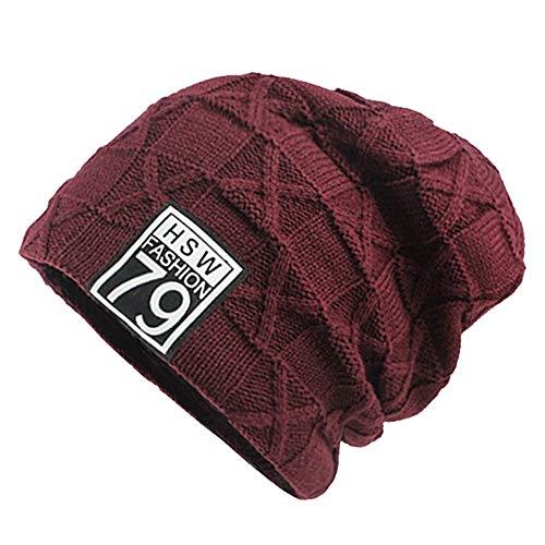 Yezijin Women Men Winter Plus Velvet Warm Knit Cap Wool Hat Headgear Outdoor (Red) (New Blanket Fleece England Patriots)