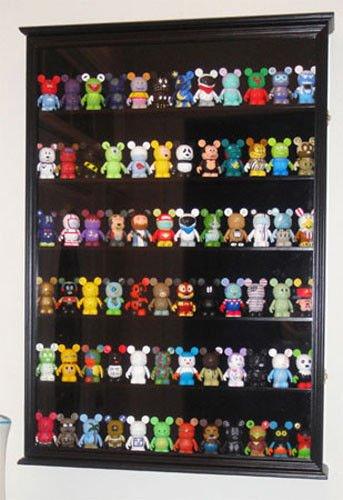 Black Finish Vinylmation Figurine Miniature Shadow Box Display Case Curio Cabinet