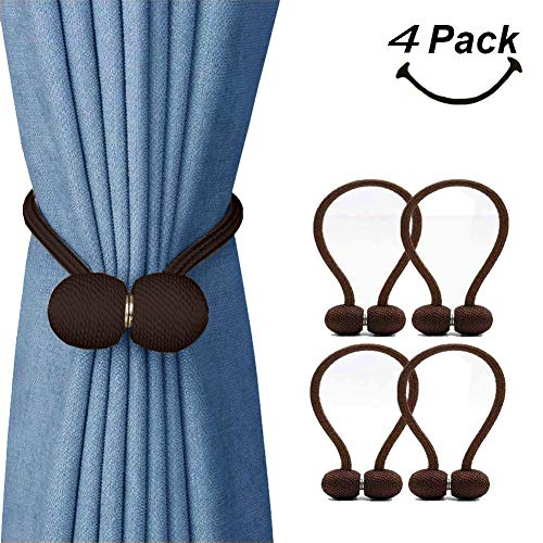 (SmallDot Magnetic Curtain Tiebacks, [Pack of 4] Drapery Hooks Holdbacks Holders with Strong Magnet for Window Sheer Blackout Panels, 16 Inch, Chocolate)