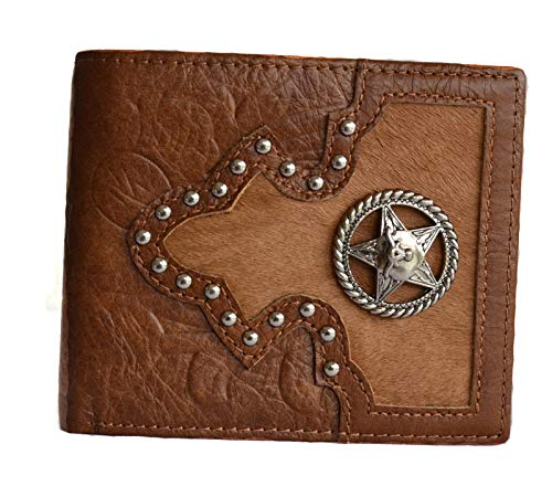 GENUINE LEATHER TEXAS LONGHORN STAR CONCHO BIFOLD SMALL WALLET (brown)