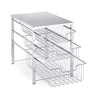 Simple Trending 3-Tier Under Sink Cabinet Organizer with Sliding Storage Drawer, Desktop Organizer for Kitchen Bathroom Office, Stackable, Chrome