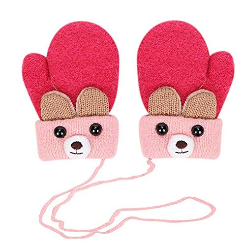 Toddler Warm Gloves Knitted Soft Lined Hand Full Finger Baby Mittens with Strap