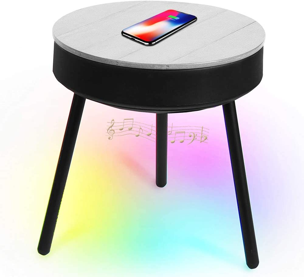 uuffoo Smart Outdoor End Table with Bluetooth Speakers, Wireless Charger, LED Accent Lights, 360 Degree Premium Sound Side Table, Grey