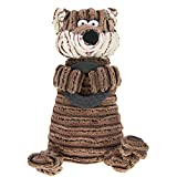 Cute Animal Shape Corduroy Durable Pet Dog Cat Stuffed Chew Toy Teeth Cleaning Training Squeaker Play Chew Rope Toys Teether for Small Medium Dogs Puppies Plush Sound Squeaky Toy Pet Plaything Puppet