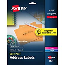 """Avery Glossy Clear Easy Peel Address Labels, 1"""" x 2-5/8"""", Pack of 300 (6521)"""