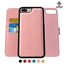 SHANSHUI iPhone 7 PLUS Wallet Case,Detachable 2 in 1 Leather Flip Case with Three RFID Card Holders and One Cash Pocket with Slim Back Cover for iPhone 7 Plus - Pink
