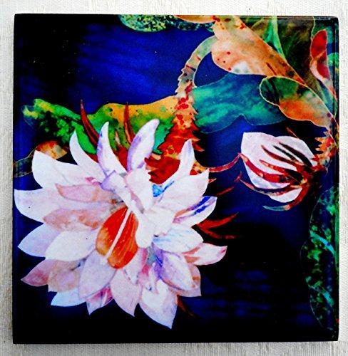 Decorative Ceramic Tile Coaster, Night Blooming Cereus Cactus Flower Artwork, Kitchen Cottage Decor